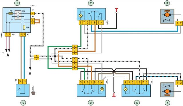 Схема включения электростеклоподъемников дверей: 1 - монтажный блок; 2 - переключатель электростеклоподъемника правой...