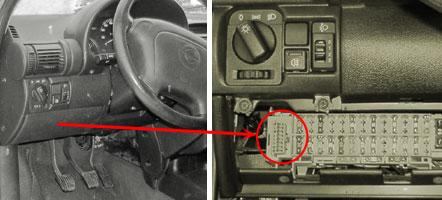 4. Opel Zafira (1999-2004 гг.) Расположение: под ручником.  Для доступа к диагностическому разъему - снять сначала...