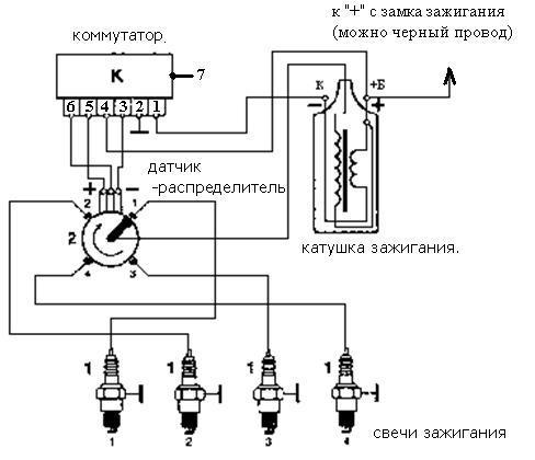 Схема зажигания с ВАЗ-2108.